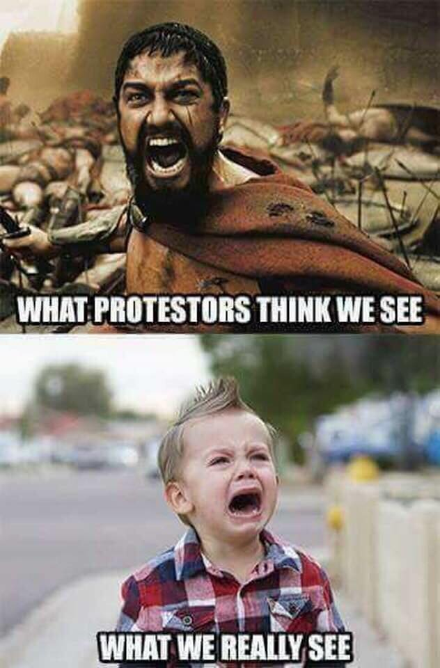 Protester Cry Baby